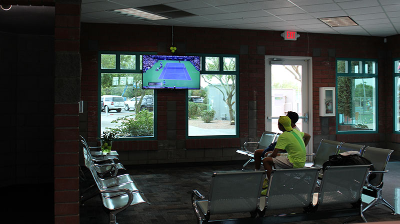 city of mesa tennis center at gene autry park lobby with tv
