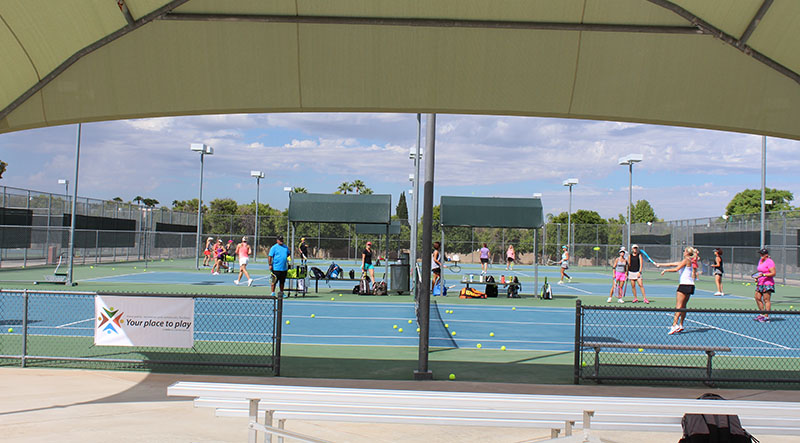 ciyt of mesa tennis center at gene autry park shade view of court with players