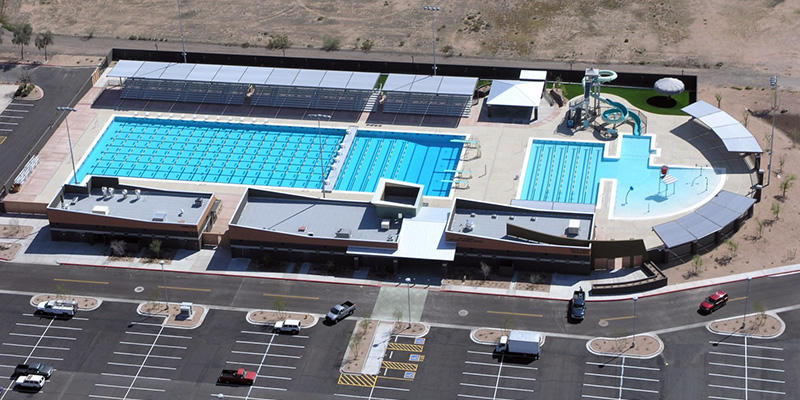 skyline Pool Aerial View