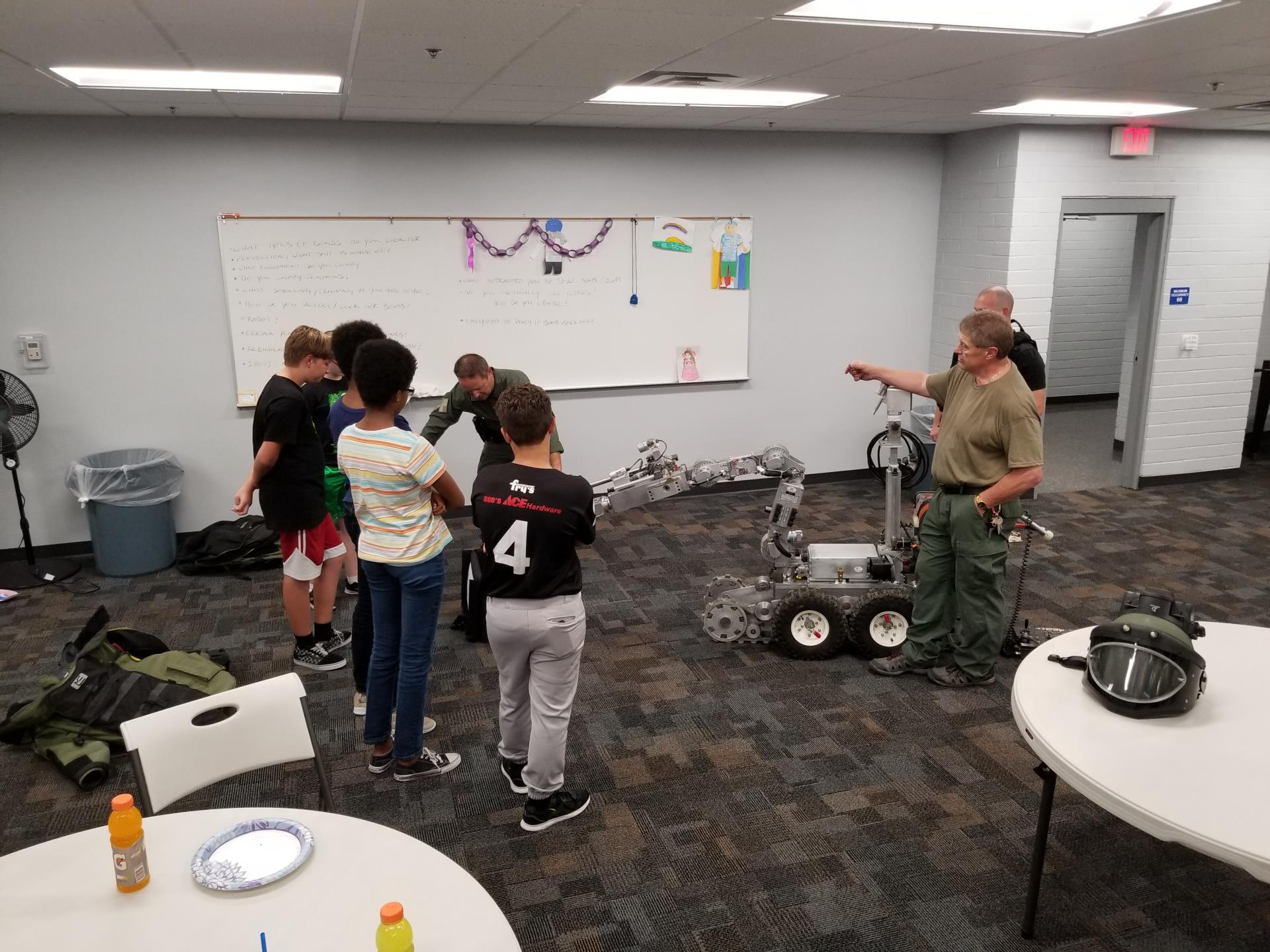 Mesa PD Bomb Squad visiting Eagles Teen PLAE program