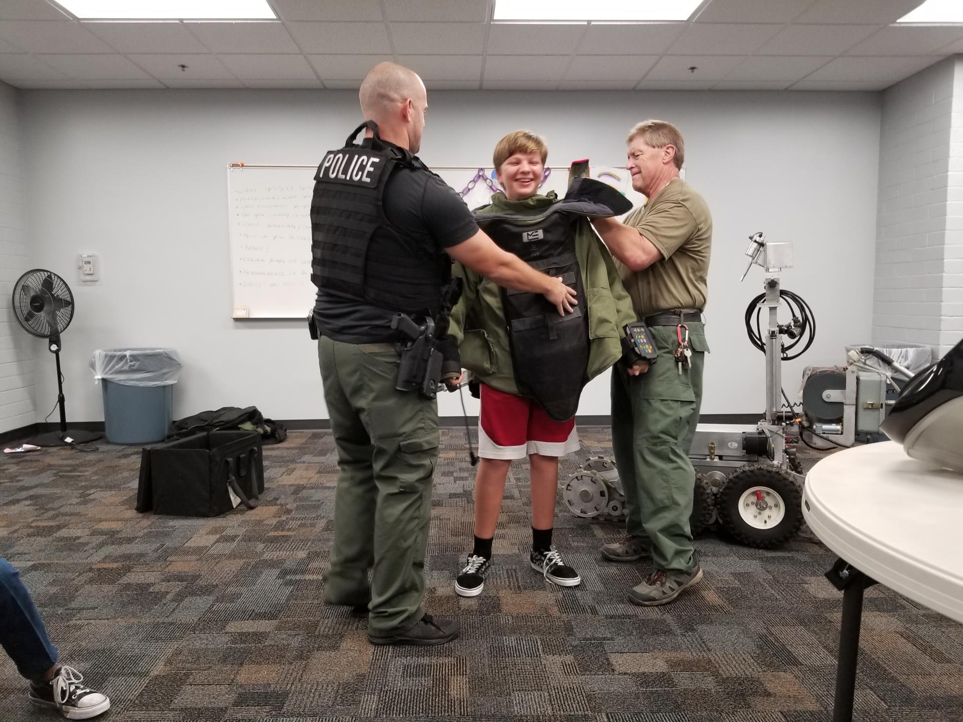 Mesa PD Bomb Squad Visit to Eagles Teen Play Program - Suit
