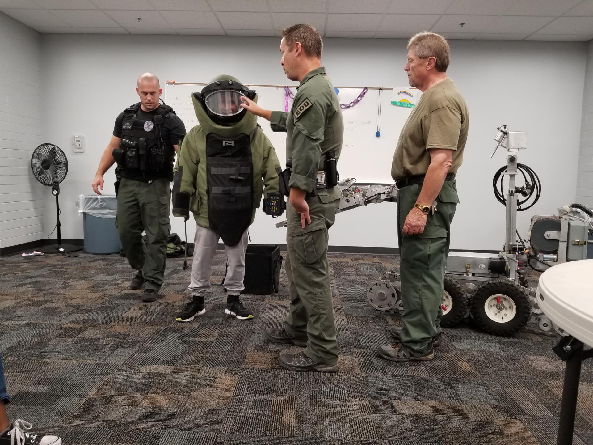 Mesa PD Bomb Squad Visit To Eagles Teen Program -  Full Suit